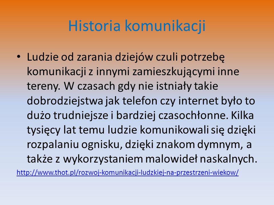 Historia komunikacji Ludzie od zarania dziejów czuli potrzebę komunikacji z innymi zamieszkującymi inne tereny. W czasach gdy nie istniały takie dobro