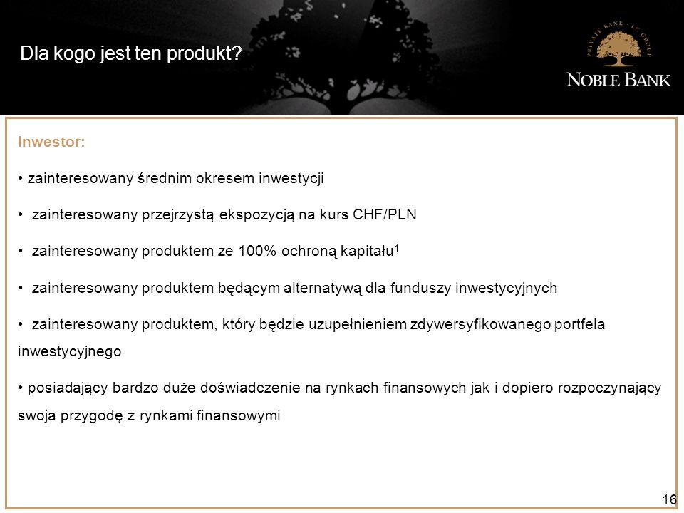 Dla kogo jest ten produkt? 16 Inwestor: zainteresowany średnim okresem inwestycji zainteresowany przejrzystą ekspozycją na kurs CHF/PLN zainteresowany