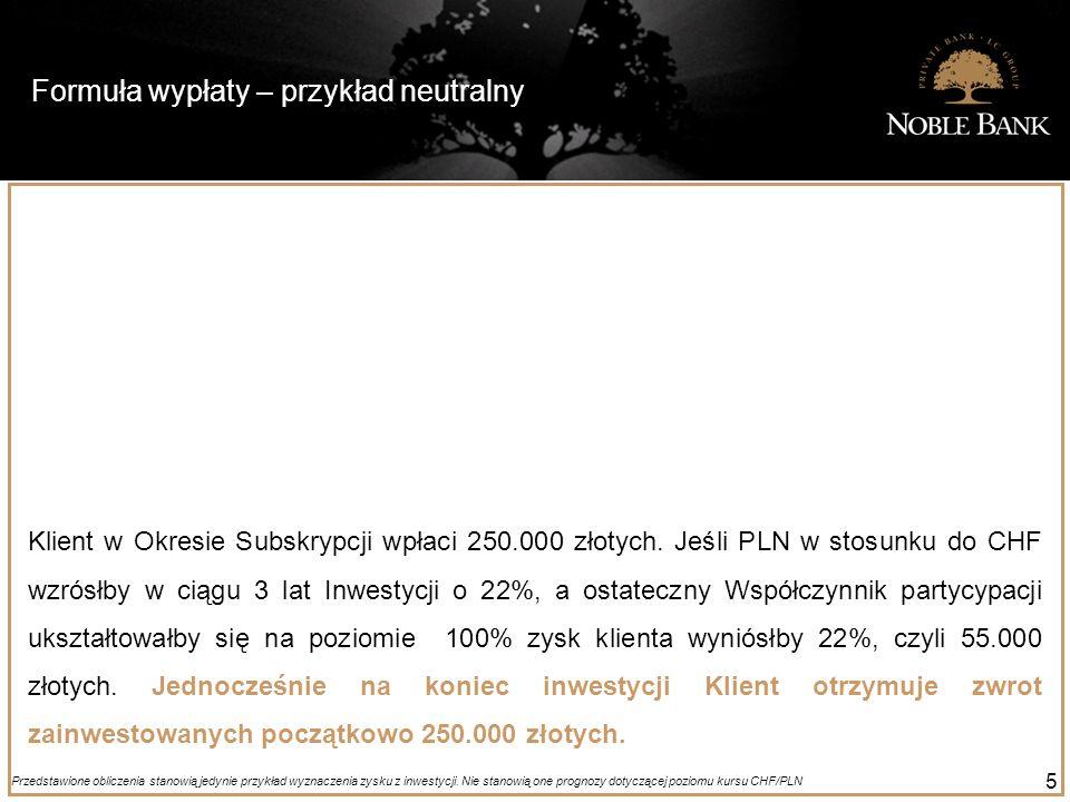 Formuła wypłaty – przykład neutralny 5 Klient w Okresie Subskrypcji wpłaci 250.000 złotych. Jeśli PLN w stosunku do CHF wzrósłby w ciągu 3 lat Inwesty