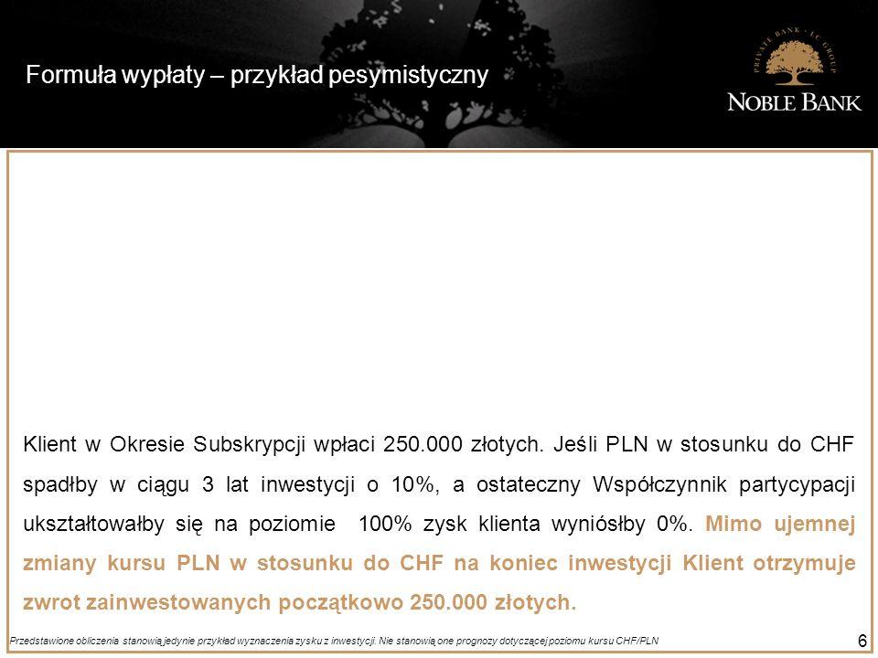 Formuła wypłaty – przykład pesymistyczny 6 Klient w Okresie Subskrypcji wpłaci 250.000 złotych. Jeśli PLN w stosunku do CHF spadłby w ciągu 3 lat inwe