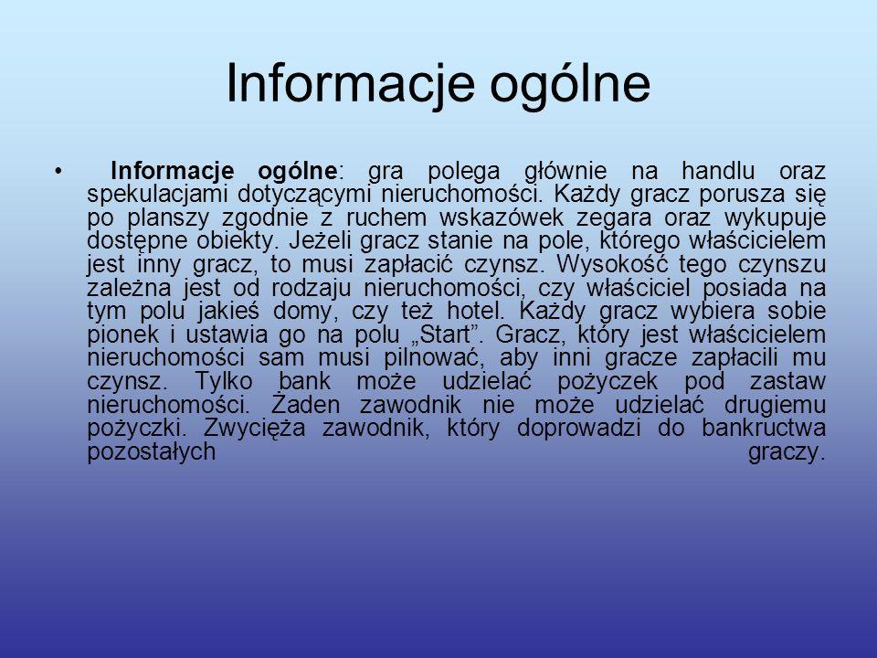 Informacje ogólne Informacje ogólne: gra polega głównie na handlu oraz spekulacjami dotyczącymi nieruchomości.