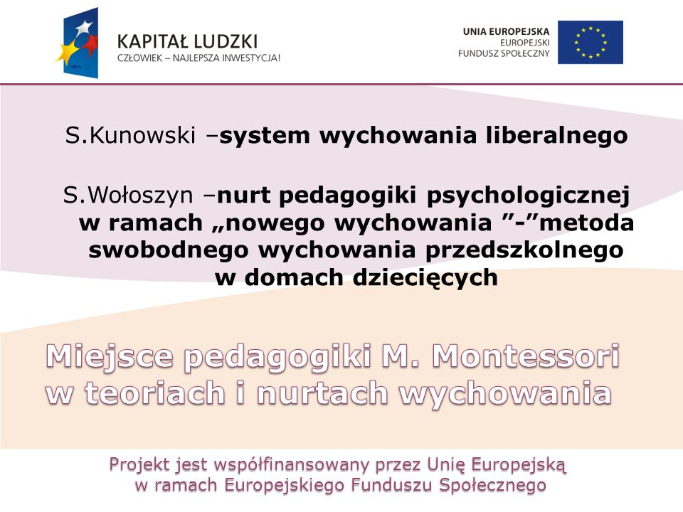 Projekt jest współfinansowany przez Unię Europejską w ramach Europejskiego Funduszu Społecznego S.Kunowski –system wychowania liberalnego S.Wołoszyn –