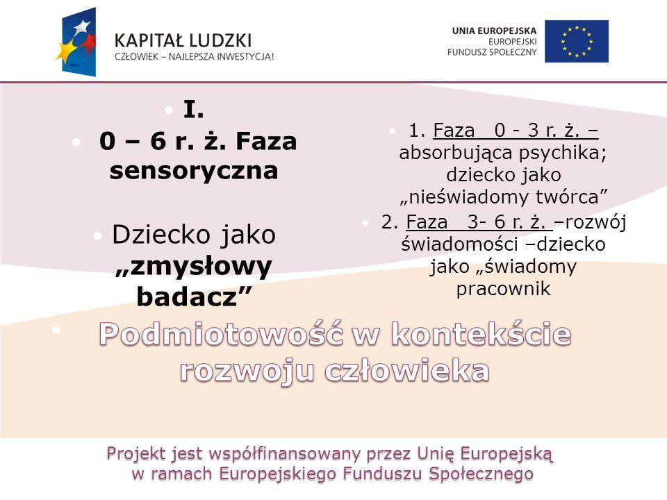 """Projekt jest współfinansowany przez Unię Europejską w ramach Europejskiego Funduszu Społecznego I. 0 – 6 r. ż. Faza sensoryczna Dziecko jako """"zmysłowy"""