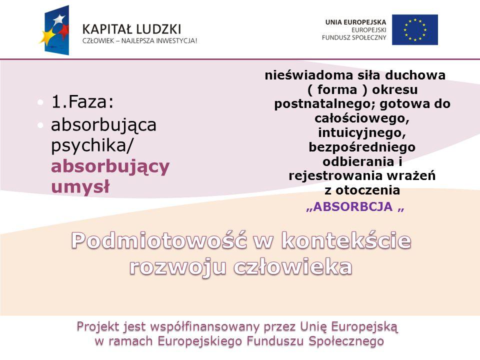 Projekt jest współfinansowany przez Unię Europejską w ramach Europejskiego Funduszu Społecznego 1.Faza: absorbująca psychika/ absorbujący umysł nieświ