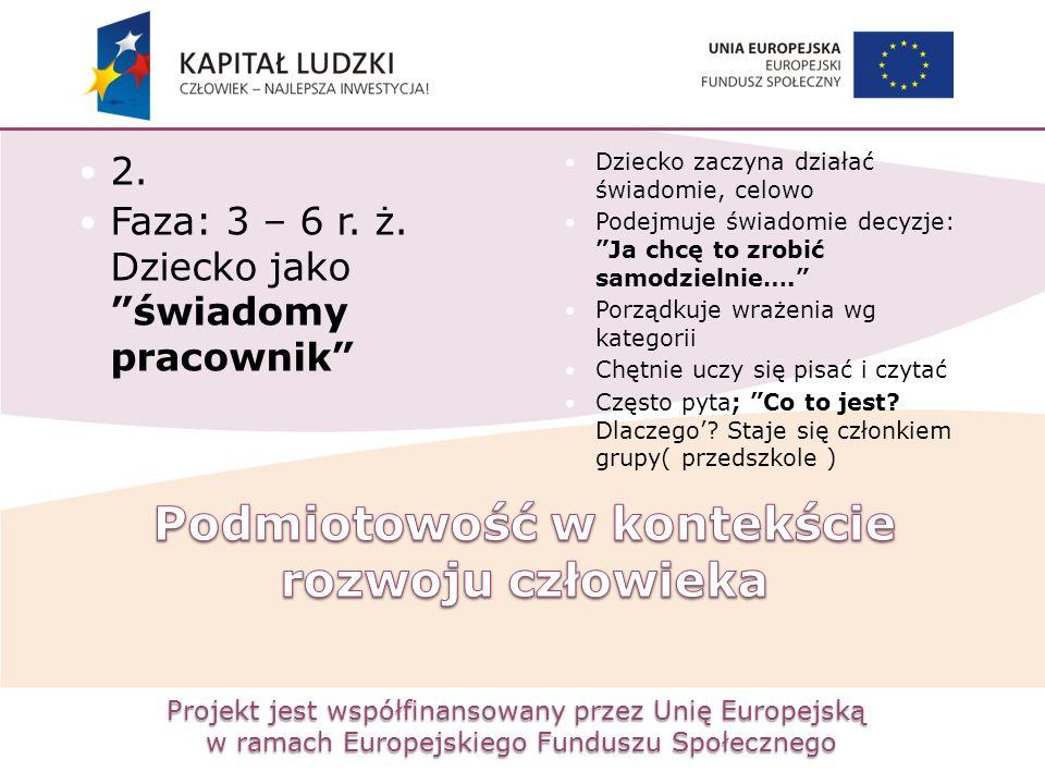 """Projekt jest współfinansowany przez Unię Europejską w ramach Europejskiego Funduszu Społecznego 2. Faza: 3 – 6 r. ż. Dziecko jako """"świadomy pracownik"""""""