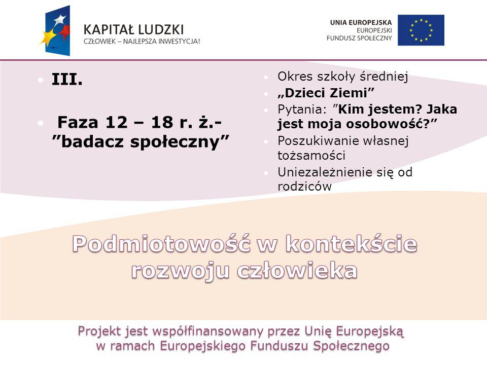 """Projekt jest współfinansowany przez Unię Europejską w ramach Europejskiego Funduszu Społecznego III. Faza 12 – 18 r. ż.- """"badacz społeczny"""" Okres szko"""