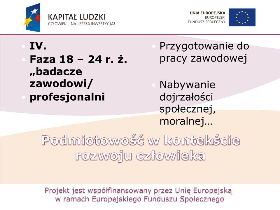 """Projekt jest współfinansowany przez Unię Europejską w ramach Europejskiego Funduszu Społecznego IV. Faza 18 – 24 r. ż. """"badacze zawodowi/ profesjonaln"""