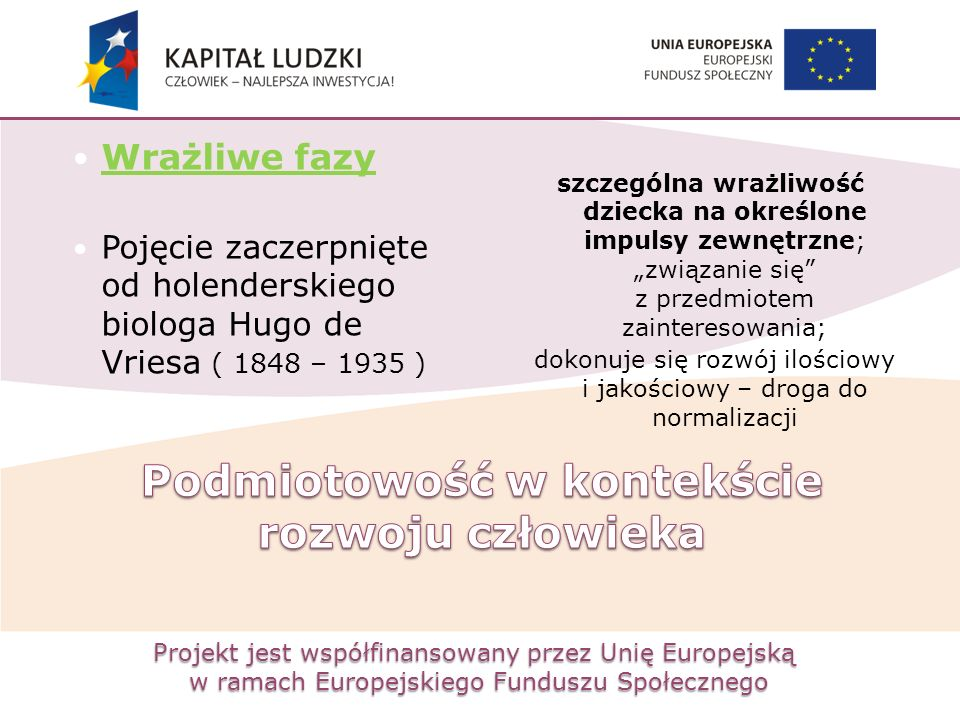 Projekt jest współfinansowany przez Unię Europejską w ramach Europejskiego Funduszu Społecznego Wrażliwe fazy Pojęcie zaczerpnięte od holenderskiego b