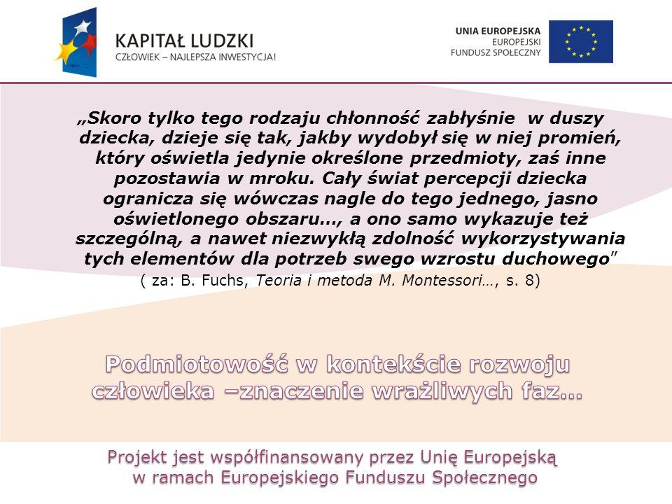 """Projekt jest współfinansowany przez Unię Europejską w ramach Europejskiego Funduszu Społecznego """"Skoro tylko tego rodzaju chłonność zabłyśnie w duszy"""