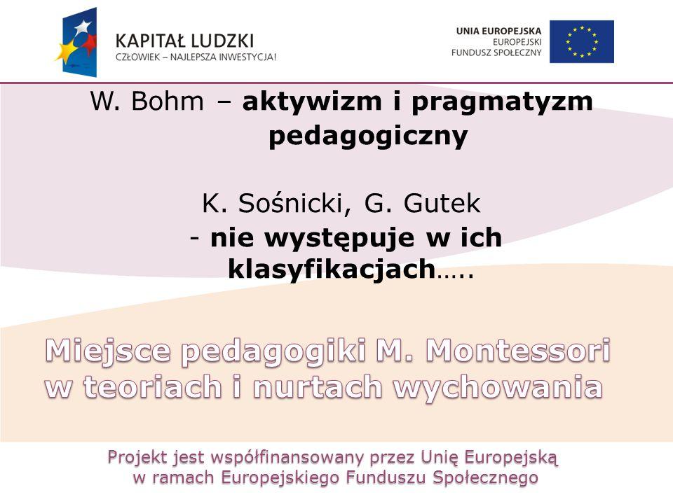 Projekt jest współfinansowany przez Unię Europejską w ramach Europejskiego Funduszu Społecznego W. Bohm – aktywizm i pragmatyzm pedagogiczny K. Sośnic