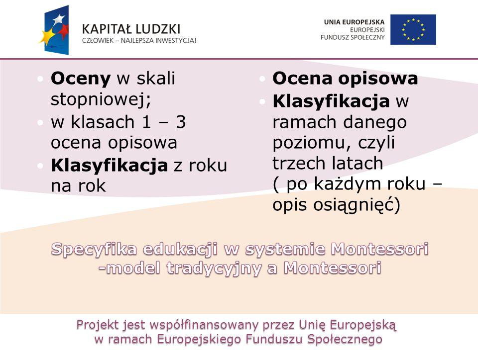 Projekt jest współfinansowany przez Unię Europejską w ramach Europejskiego Funduszu Społecznego Oceny w skali stopniowej; w klasach 1 – 3 ocena opisow