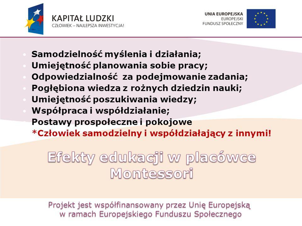Projekt jest współfinansowany przez Unię Europejską w ramach Europejskiego Funduszu Społecznego Samodzielność myślenia i działania; Umiejętność planow