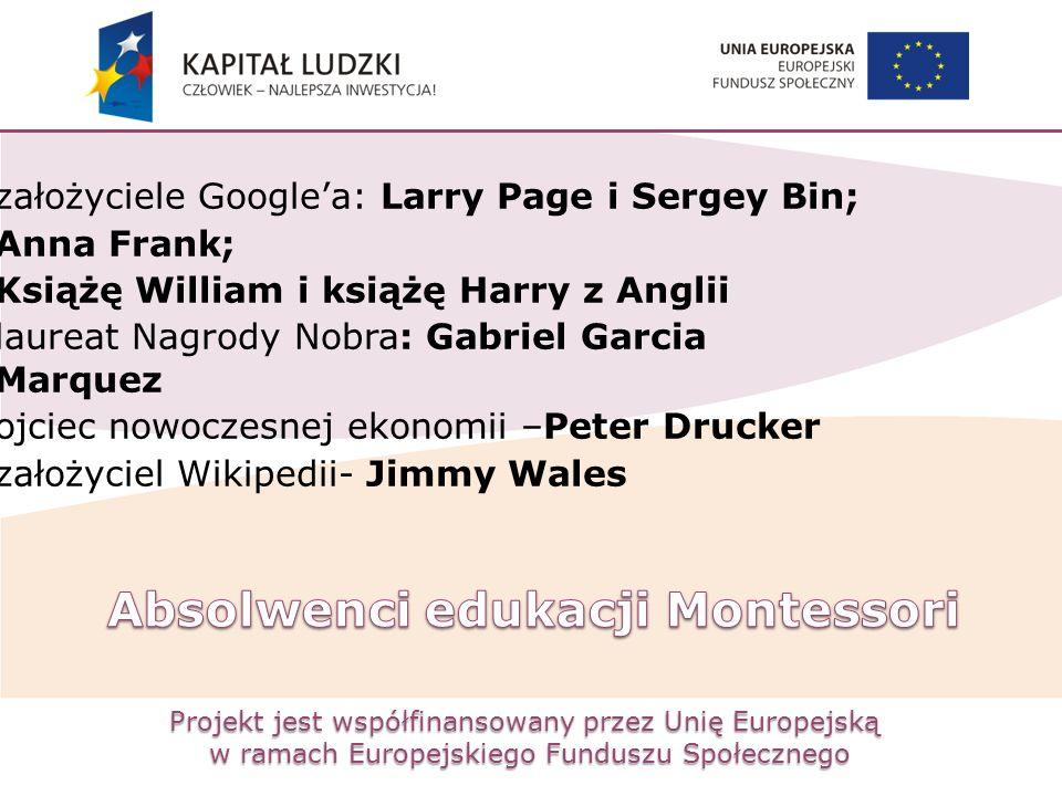 Projekt jest współfinansowany przez Unię Europejską w ramach Europejskiego Funduszu Społecznego założyciele Google'a: Larry Page i Sergey Bin; Anna Fr