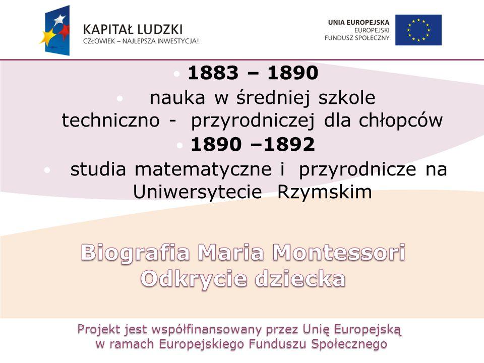 Projekt jest współfinansowany przez Unię Europejską w ramach Europejskiego Funduszu Społecznego 1883 – 1890 nauka w średniej szkole techniczno - przyr