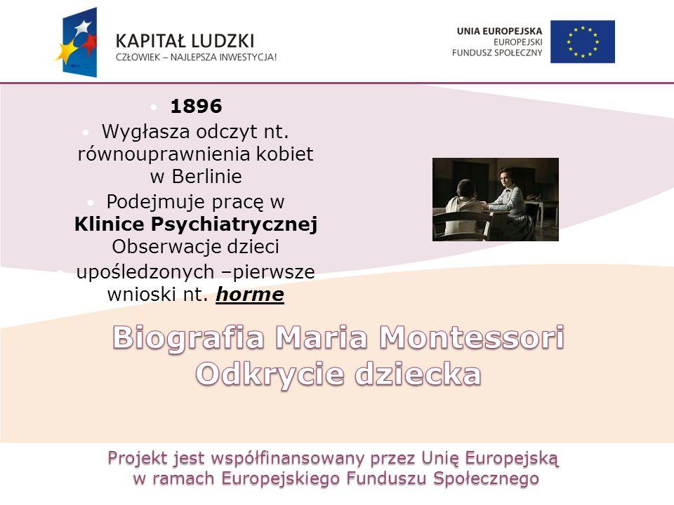 Projekt jest współfinansowany przez Unię Europejską w ramach Europejskiego Funduszu Społecznego 1896 Wygłasza odczyt nt. równouprawnienia kobiet w Ber