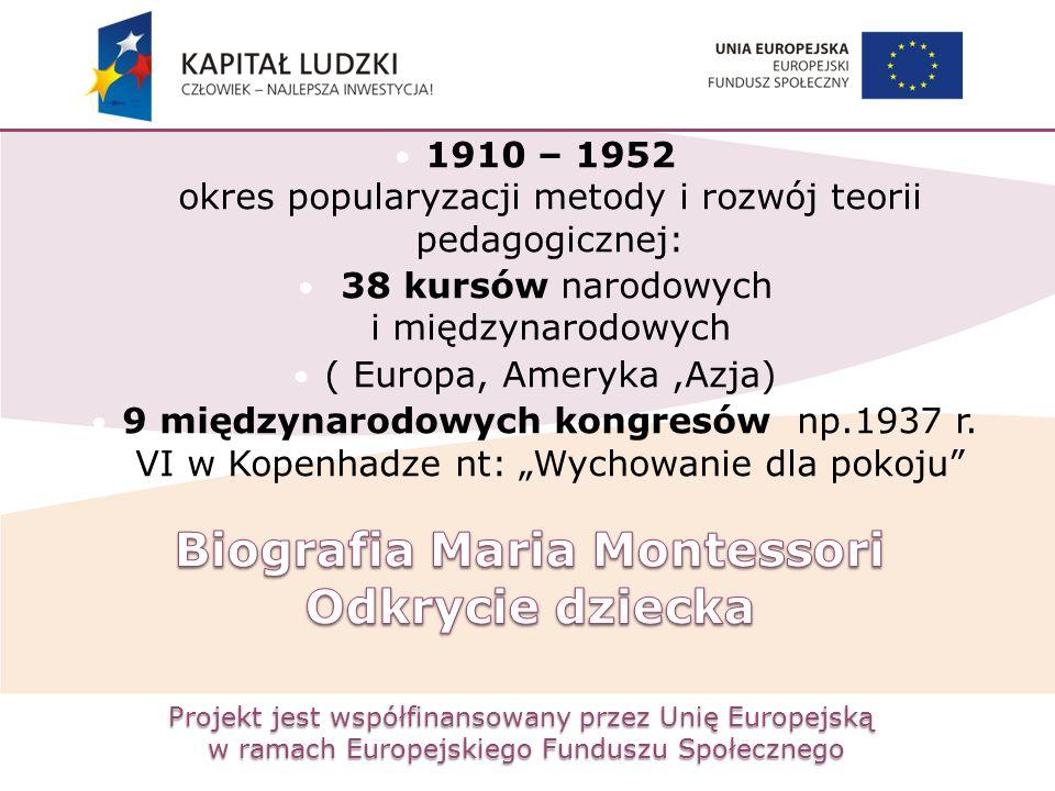 Projekt jest współfinansowany przez Unię Europejską w ramach Europejskiego Funduszu Społecznego 1910 – 1952 okres popularyzacji metody i rozwój teorii