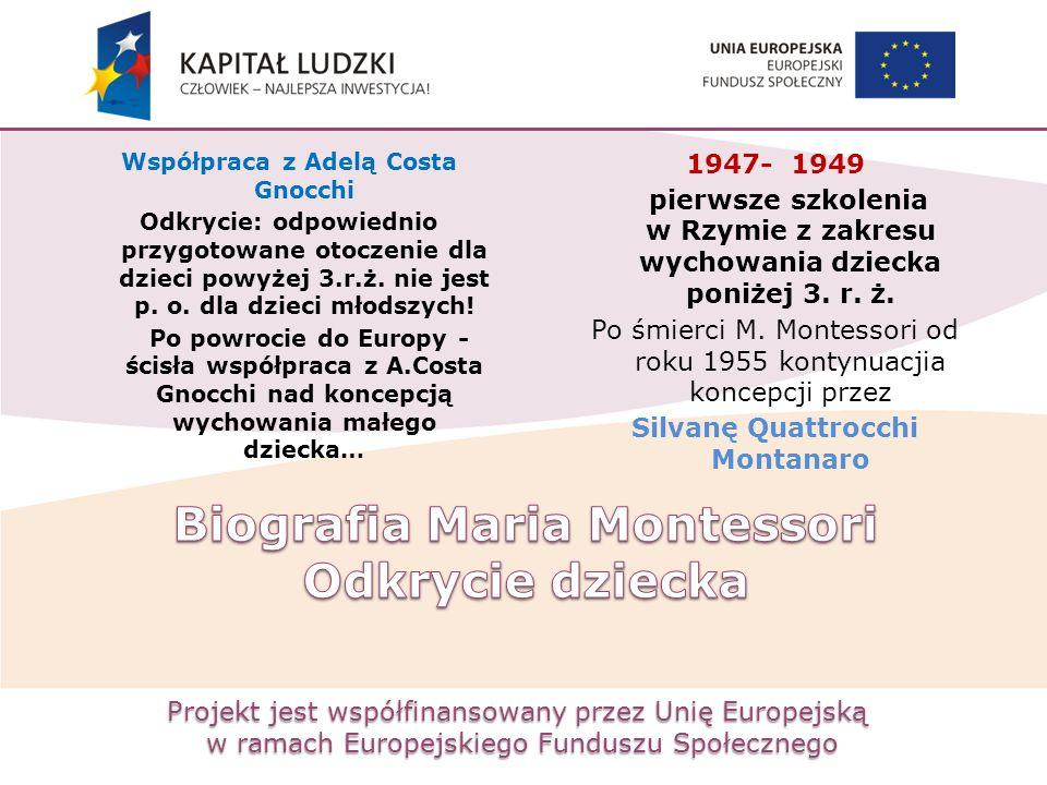Projekt jest współfinansowany przez Unię Europejską w ramach Europejskiego Funduszu Społecznego Współpraca z Adelą Costa Gnocchi Odkrycie: odpowiednio