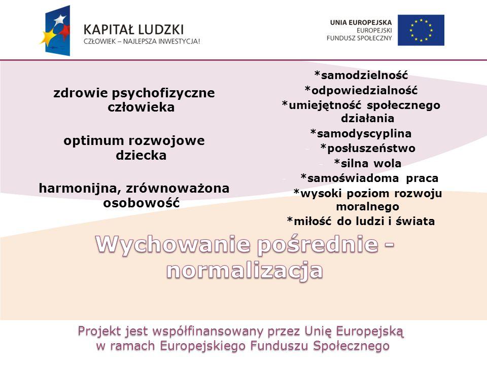 Projekt jest współfinansowany przez Unię Europejską w ramach Europejskiego Funduszu Społecznego zdrowie psychofizyczne człowieka optimum rozwojowe dzi