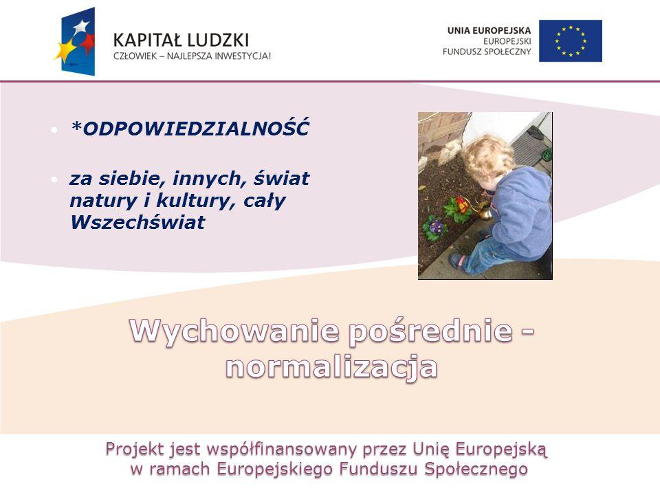 Projekt jest współfinansowany przez Unię Europejską w ramach Europejskiego Funduszu Społecznego *ODPOWIEDZIALNOŚĆ za siebie, innych, świat natury i ku