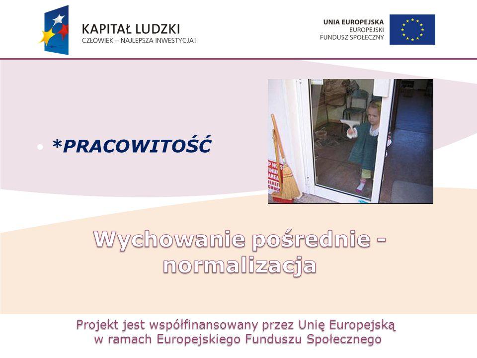 Projekt jest współfinansowany przez Unię Europejską w ramach Europejskiego Funduszu Społecznego *PRACOWITOŚĆ