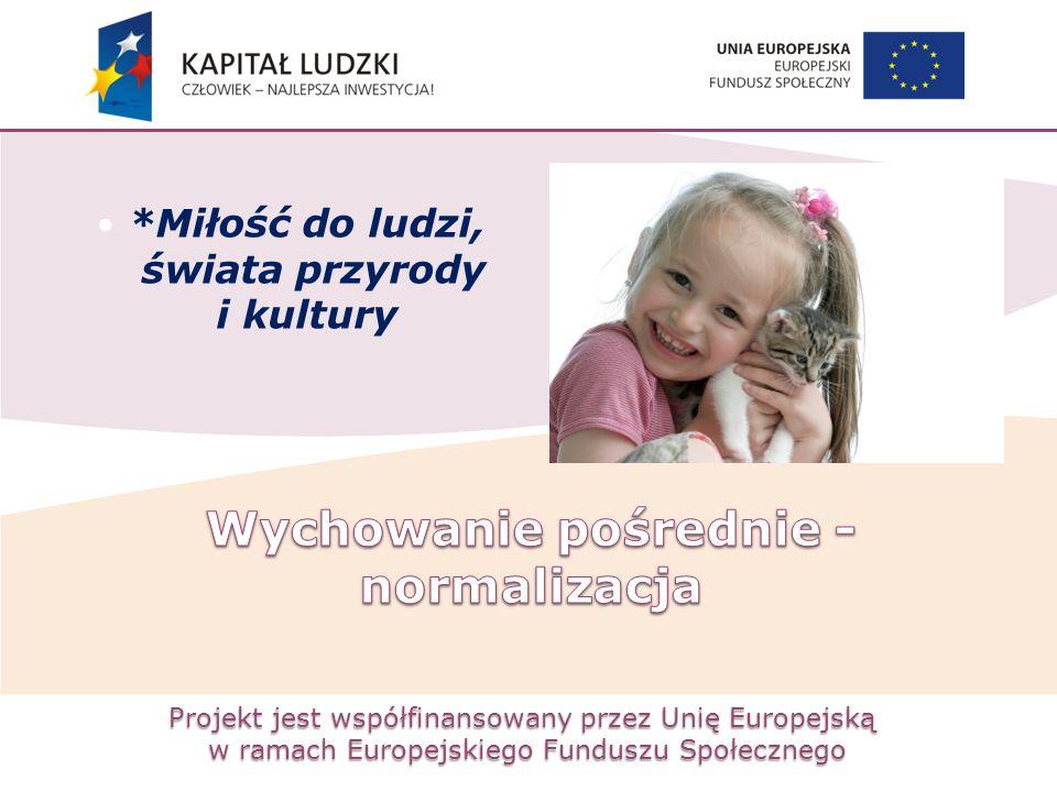 Projekt jest współfinansowany przez Unię Europejską w ramach Europejskiego Funduszu Społecznego *Miłość do ludzi, świata przyrody i kultury