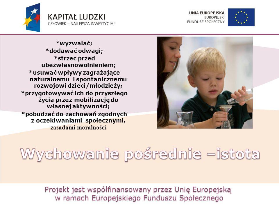 Projekt jest współfinansowany przez Unię Europejską w ramach Europejskiego Funduszu Społecznego *wyzwalać; *dodawać odwagi; *strzec przed ubezwłasnowo