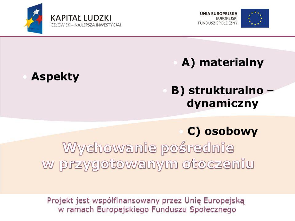 Projekt jest współfinansowany przez Unię Europejską w ramach Europejskiego Funduszu Społecznego Aspekty A) materialny B) strukturalno – dynamiczny C)