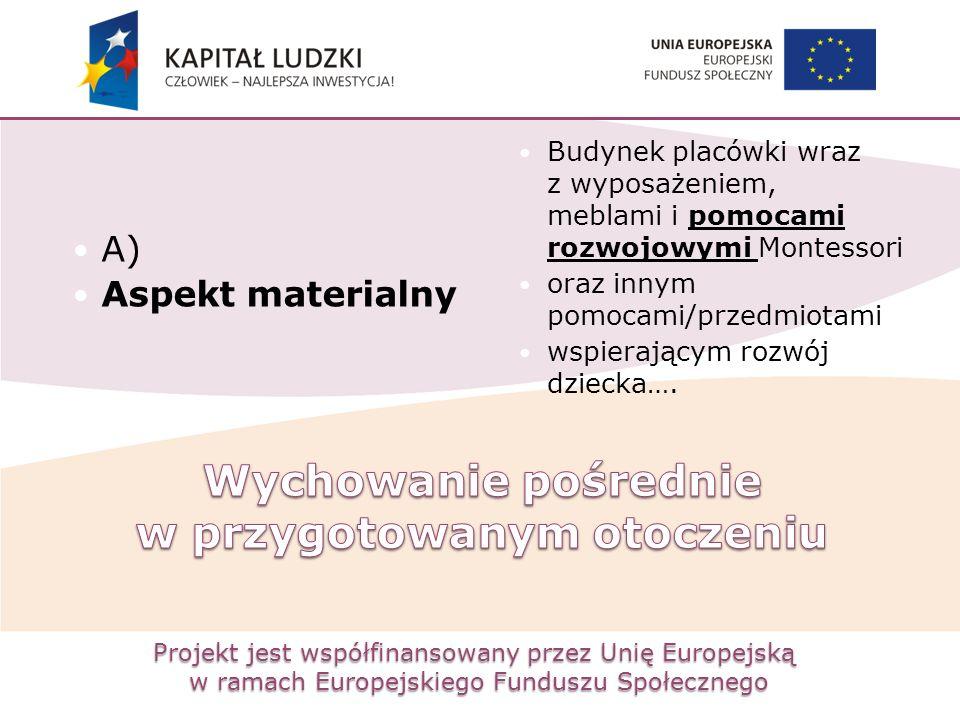 Projekt jest współfinansowany przez Unię Europejską w ramach Europejskiego Funduszu Społecznego A) Aspekt materialny Budynek placówki wraz z wyposażen