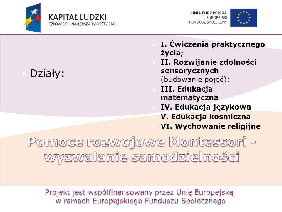Projekt jest współfinansowany przez Unię Europejską w ramach Europejskiego Funduszu Społecznego Działy: I. Ćwiczenia praktycznego życia; II. Rozwijani