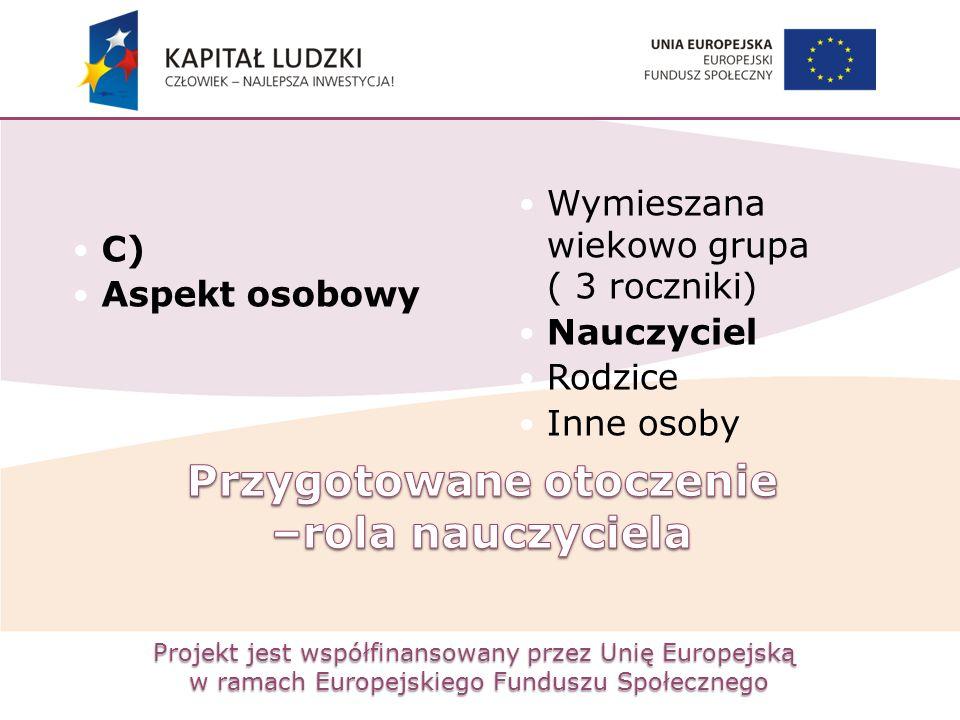 Projekt jest współfinansowany przez Unię Europejską w ramach Europejskiego Funduszu Społecznego C) Aspekt osobowy Wymieszana wiekowo grupa ( 3 rocznik