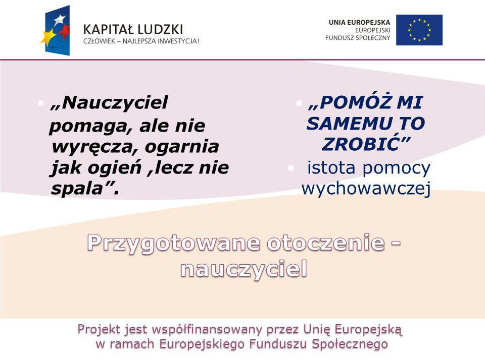"""Projekt jest współfinansowany przez Unię Europejską w ramach Europejskiego Funduszu Społecznego """"Nauczyciel pomaga, ale nie wyręcza, ogarnia jak ogień"""
