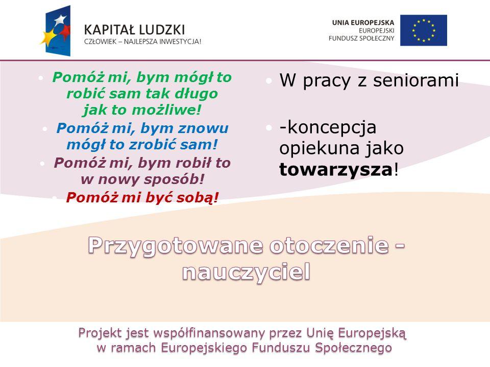 Projekt jest współfinansowany przez Unię Europejską w ramach Europejskiego Funduszu Społecznego Pomóż mi, bym mógł to robić sam tak długo jak to możli