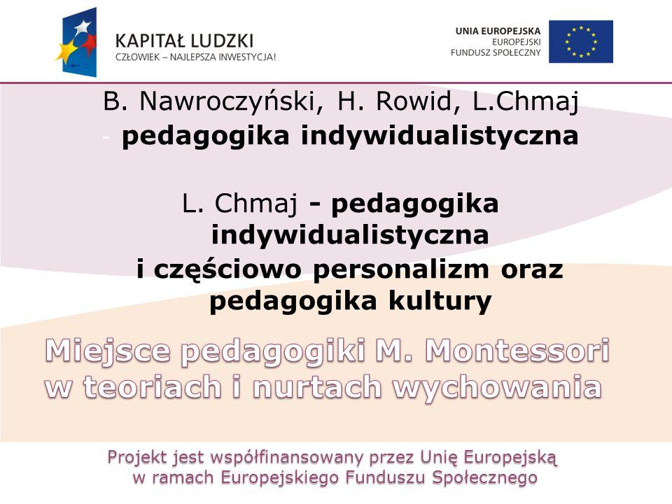 Projekt jest współfinansowany przez Unię Europejską w ramach Europejskiego Funduszu Społecznego B. Nawroczyński, H. Rowid, L.Chmaj - pedagogika indywi