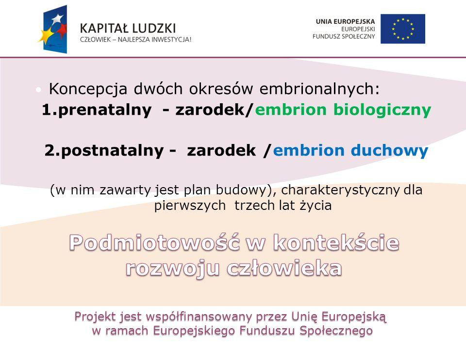Projekt jest współfinansowany przez Unię Europejską w ramach Europejskiego Funduszu Społecznego Koncepcja dwóch okresów embrionalnych: 1.prenatalny -