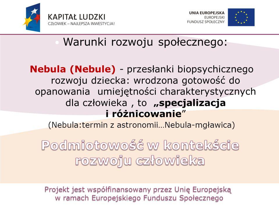 Projekt jest współfinansowany przez Unię Europejską w ramach Europejskiego Funduszu Społecznego Warunki rozwoju społecznego: Nebula (Nebule) - przesła
