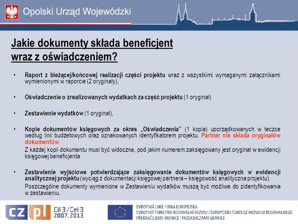 Jakie dokumenty składa beneficjent wraz z oświadczeniem? Raport z bieżącej/końcowej realizacji części projektu wraz z wszystkimi wymaganymi załącznika