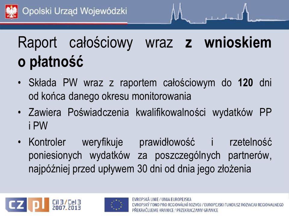 Raport całościowy wraz z wnioskiem o płatność Składa PW wraz z raportem całościowym do 120 dni od końca danego okresu monitorowania Zawiera Poświadcze