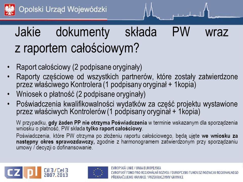 Jakie dokumenty składa PW wraz z raportem całościowym? Raport całościowy (2 podpisane oryginały) Raporty częściowe od wszystkich partnerów, które zost