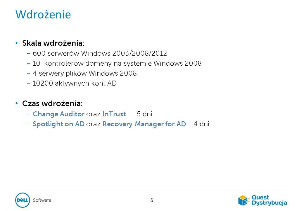 Podsumowanie W Banku powstała niezależna od Microsoft infrastruktura, umożliwiająca: – monitorowanie zmian zachodzących w Active Directory, Windows File System – identyfikację: kto, gdzie, kiedy, z jakiego IP, z jakiego komputera dokonał zmian.