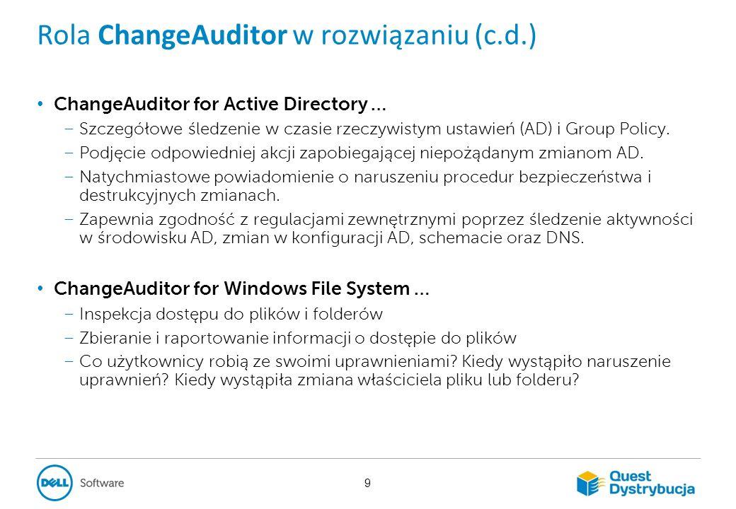 ChangeAuditor Skonsolidowany audyt zmian w czasie rzeczywistym dla: AD, LDAP, serwerów plików Windows, rejestrów systemowych, usług, lokalnych grup i użytkowników.