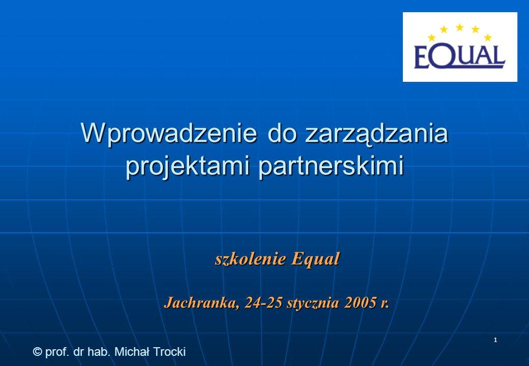 12 Obszary problemowe zarządzania projektami Przebieg Problemy i rozwiązania funkcjonalne (jak powinna przebiegać realizacja projektu) Organizacja Problemy i rozwiązania instytucjonalne (jak powinna być zorganizowana realizacja projektu) Wykonawcy Problemy i rozwiązania personalne (jak należy kierować zespołem ludzi zaangażowanych w realizację projektu) Środki Metody i techniki zarządzania projektami Wprowadzenie do zarządzania projektami partnerskimi