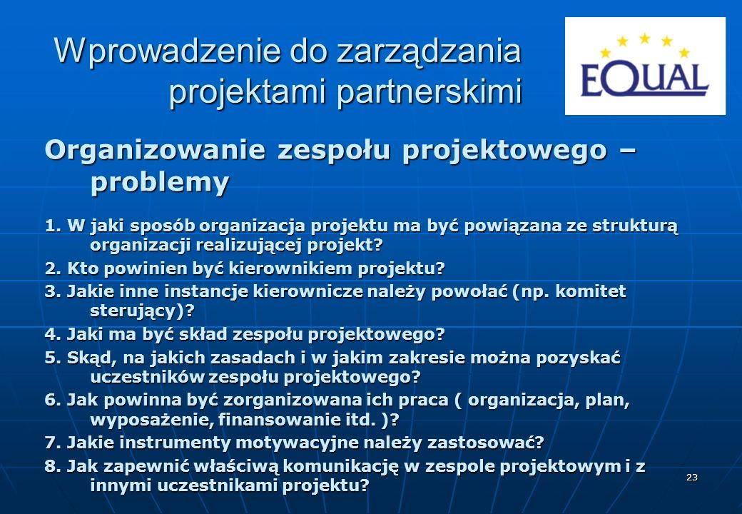 23 Organizowanie zespołu projektowego – problemy 1. W jaki sposób organizacja projektu ma być powiązana ze strukturą organizacji realizującej projekt?