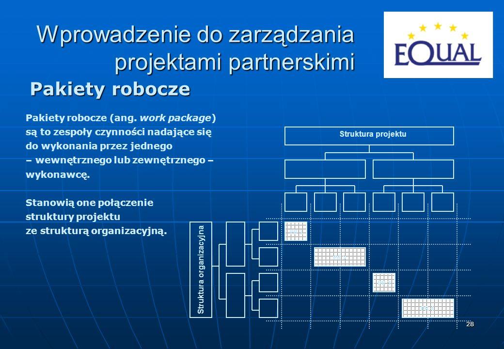 28 Pakiety robocze Pakiety robocze (ang. work package) są to zespoły czynności nadające się do wykonania przez jednego – wewnętrznego lub zewnętrznego