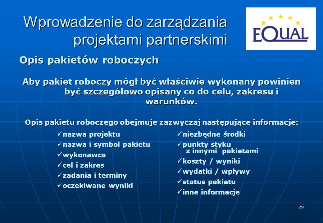 29 Opis pakietów roboczych Aby pakiet roboczy mógł być właściwie wykonany powinien być szczegółowo opisany co do celu, zakresu i warunków. Opis pakiet