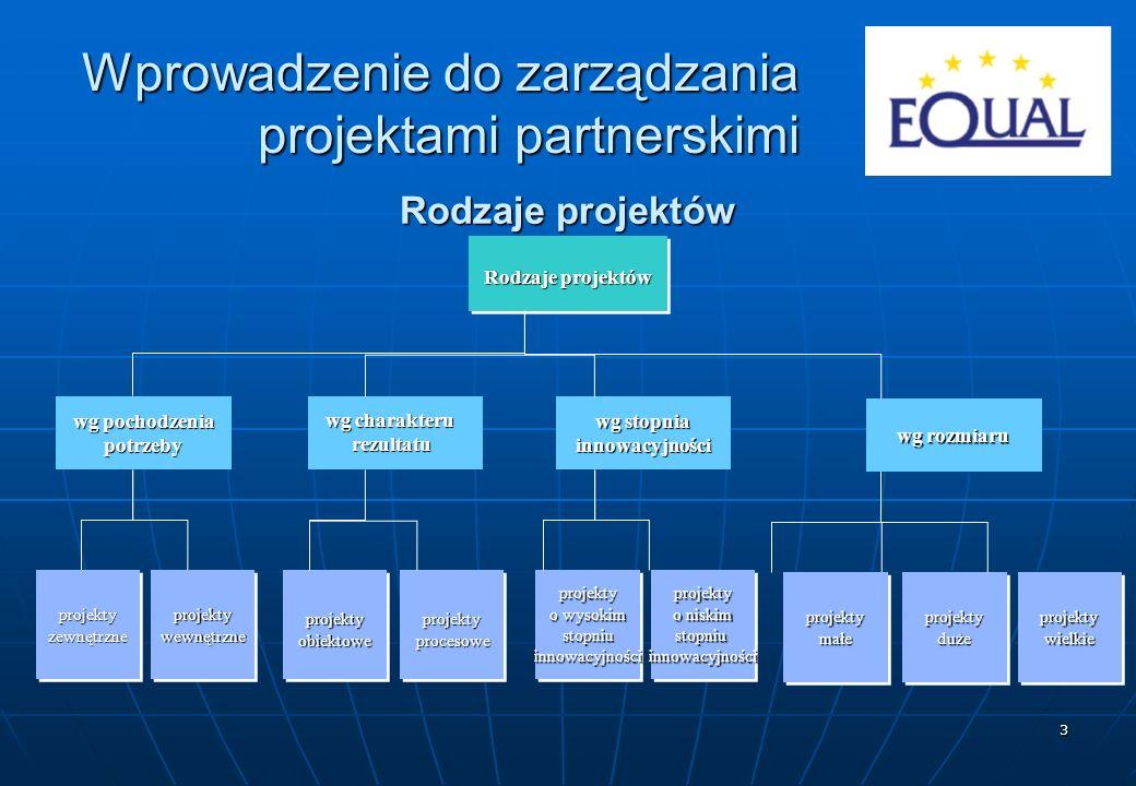 34 Zasoby projektów RodzajezasobówZasobymaterialneZasobyludzkieZasobynominalne materiały, surowce, półprodukty wyposażenie trwałe wyposażenie ruchome wykonawcy kierownicy, specjaliści środki finansowe Wprowadzenie do zarządzania projektami partnerskimi