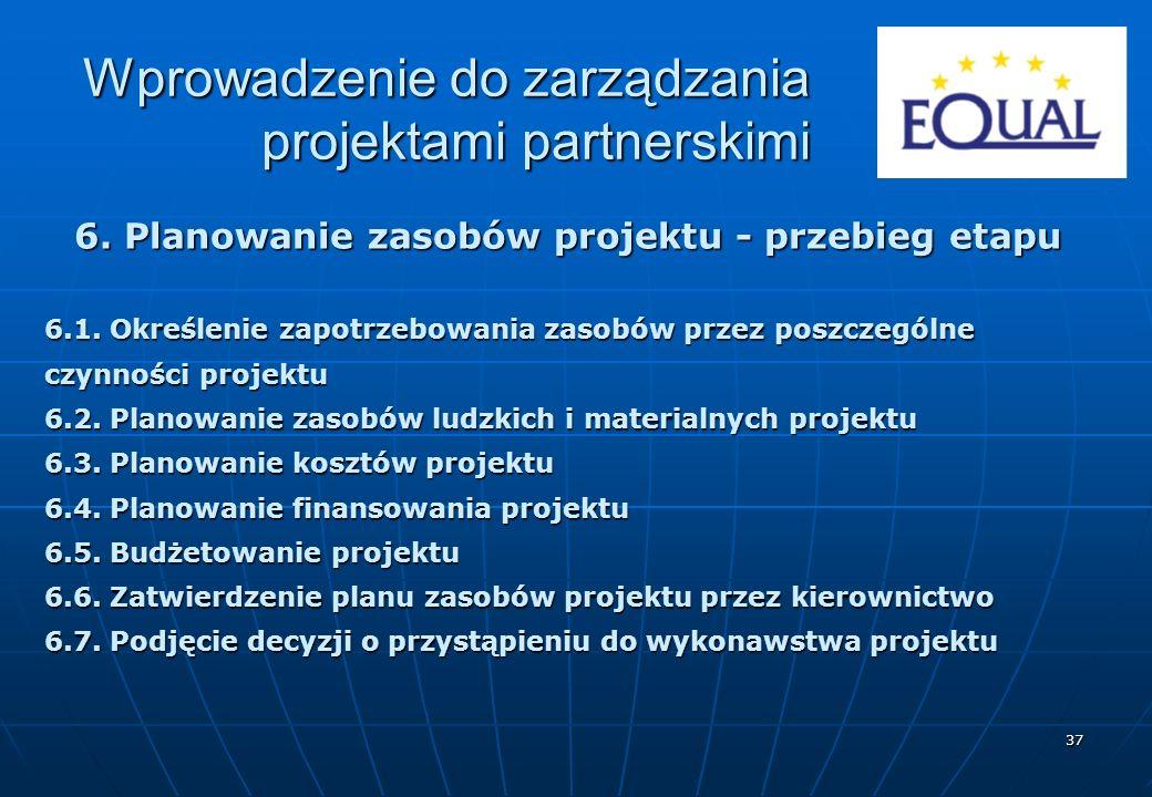 37 6. Planowanie zasobów projektu - przebieg etapu 6.1. Określenie zapotrzebowania zasobów przez poszczególne czynności projektu 6.2. Planowanie zasob