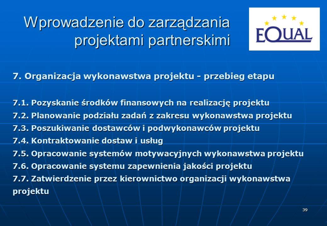 39 7. Organizacja wykonawstwa projektu - przebieg etapu 7.1. Pozyskanie środków finansowych na realizację projektu 7.2. Planowanie podziału zadań z za