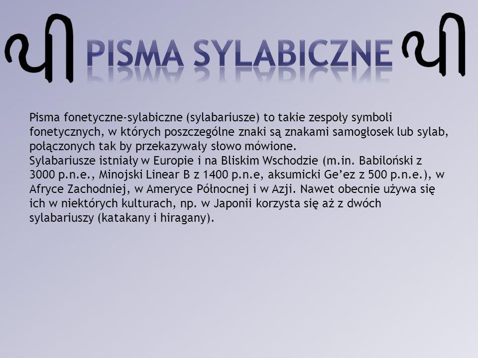 Pisma fonetyczne-sylabiczne (sylabariusze) to takie zespoły symboli fonetycznych, w których poszczególne znaki są znakami samogłosek lub sylab, połącz