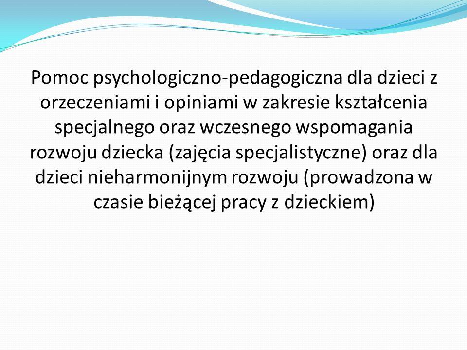 Pomoc psychologiczno-pedagogiczna dla dzieci z orzeczeniami i opiniami w zakresie kształcenia specjalnego oraz wczesnego wspomagania rozwoju dziecka (