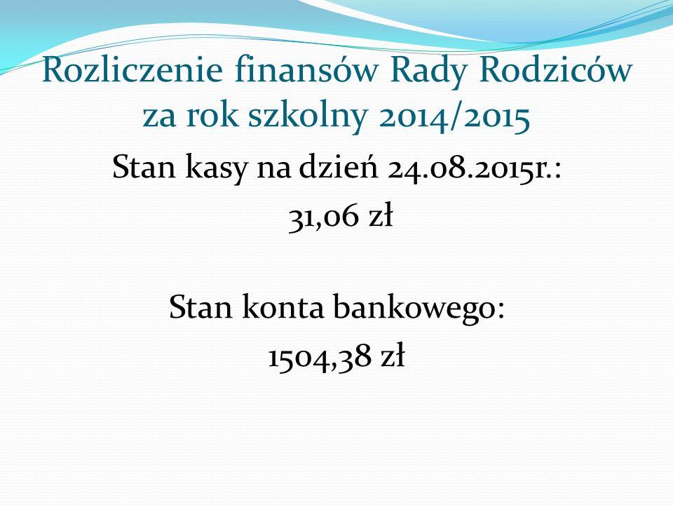 Rozliczenie finansów Rady Rodziców za rok szkolny 2014/2015 Stan kasy na dzień 24.08.2015r.: 31,06 zł Stan konta bankowego: 1504,38 zł